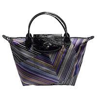 LONGCHAMP OP ART系列錯視感條紋圖案印花帆布漆皮短把手提包(小-紫水晶)