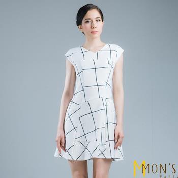 MONS幾何拼接白色格子洋裝/連身裙(CE5514)