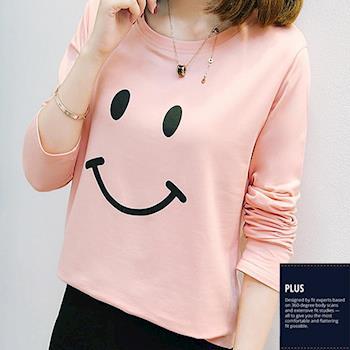 SCL T17123 美式作風微笑好心情長袖圓領T恤