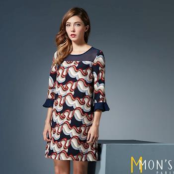 MONS法式浪漫印花七分洋裝