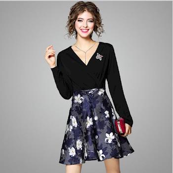 RN-girls-精品時尚氣質感花朵鳥類刺繡拼接長袖洋裝