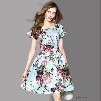 RN-girls- 歐美時尚滿版花荷葉袖超氣質短袖洋裝