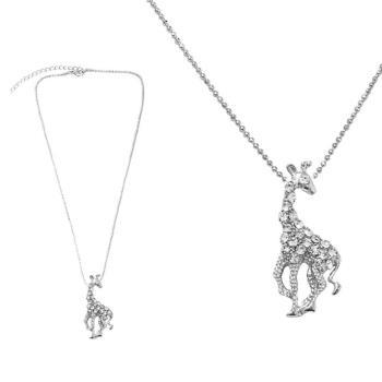 【摩達客】金屬長頸鹿造型銀色項鍊