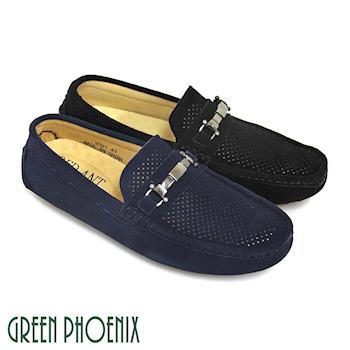 GREEN PHOENIX 馬銜扣金屬孔洞鏤空牛麂皮休閒平底鞋(男鞋)-藍色、黑色
