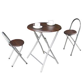 頂堅 鋼管2.2公分[耐重型]圓形折疊桌椅組/餐桌椅組/洽談桌椅組(1桌2椅)-二色可選