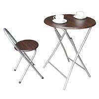 頂堅 鋼管2.2公分[耐重型]圓形折疊桌椅組/餐桌椅組/洽談桌椅組(1桌1椅)-二色可選