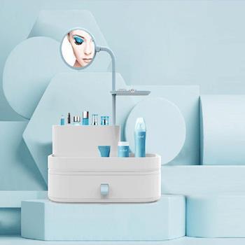 美娜甜心 法式化妝鏡梳妝盒 化妝品收納盒 絲緞藍