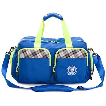 【金安德森】中款旅行袋 跳躍時空 機能雙口袋手提-摩登藍(KA164402BLF)