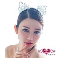 【天使霓裳】貓耳髮箍 魅惑喵喵 日系蕾絲可愛動物道具配件(白F) JB7651