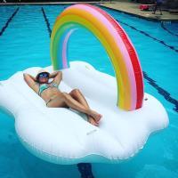 彩虹雲朵 水上充氣浮床 PVC充氣浮排 水上漂浮氣墊 游泳圈 造型泳圈 夏日戲水必備