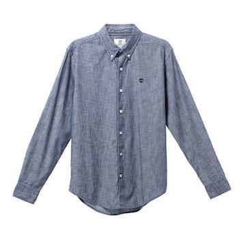 Timberland男款寶石藍印花純棉透氣長袖襯衫A1MAK