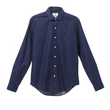 Timberland男款靓藍色時尚修身長袖襯衫A1MAV