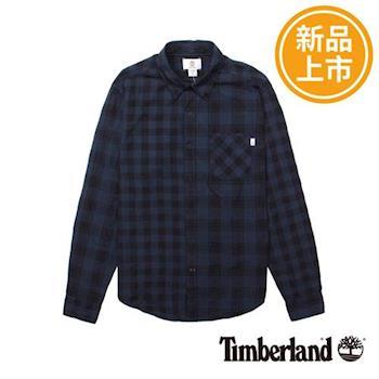Timberland男女款深藍色格紋修身長袖襯衫A1MCR