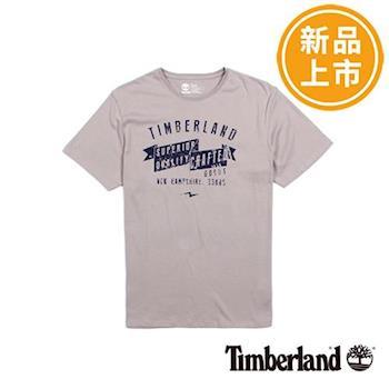 Timberland男款淺灰色時尚印花純棉短袖T恤