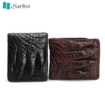 夏麗絲Sarlisi 潮流鱷魚皮手工編織鱷魚爪皮夾