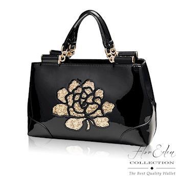 DF Flor Eden - 奢華風玫瑰漆皮牛皮款手提斜背2用包