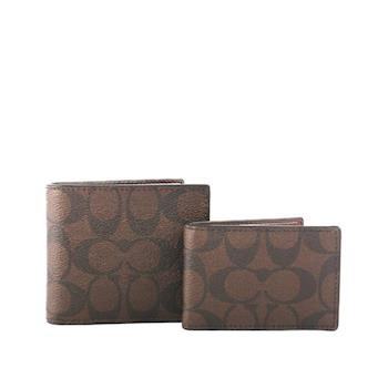 COACH C LOGO防刮皮革短夾/附證件收納夾(巧克力色) F74993 MA/BR