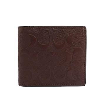 COACH C LOGO壓紋皮革零錢袋對開短夾(咖啡色)F75363 MAH