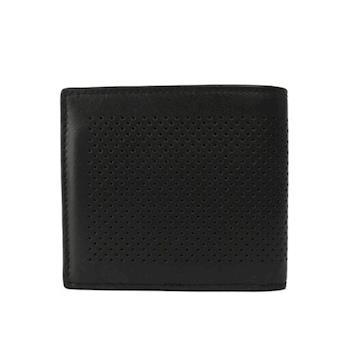 COACH 洞洞皮革8卡對開短夾(黑色)F75278 BLK