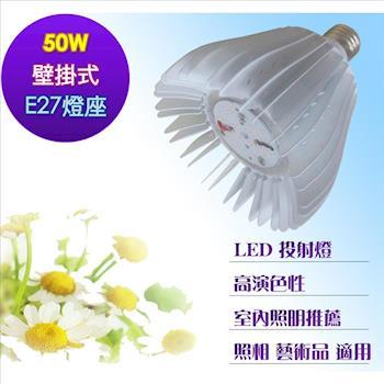 壁掛式 LED投射燈 50瓦 投射燈型 燈杯 高演色性 室內壁掛式 50瓦投光燈 E27燈座