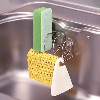 日本LEC不鏽鋼3格菜瓜布吸盤架