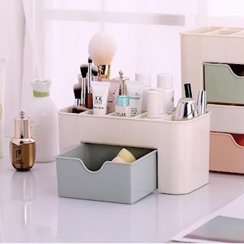 美娜甜心 抽屜分隔設計化妝品收納盒 2入組