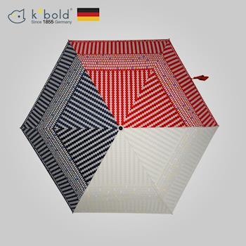 【德國kobold酷波德】抗UV-潮F撞色系列-超輕巧-遮陽防曬花紋傘-三折傘-紅色