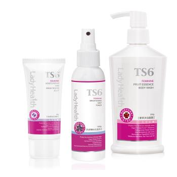TS6護一生 粉嫩係淨潔凝膜組(果萃沐浴晶露+私密嫩白化妝水+私透白水凝膜)