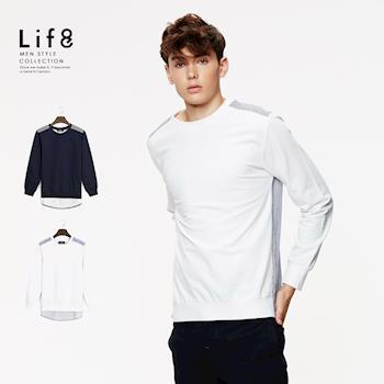 Life8-Casual 異材拼接 後長擺羅紋長袖T-03922-深藍/白色