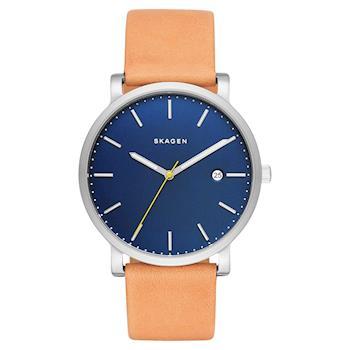 SKAGEN Hagen 北歐時尚石英腕錶 藍x咖啡 40mm SKW6279