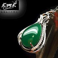 KMK天然寶石~8.7克拉~南非辛巴威天然綠玉髓~項鍊