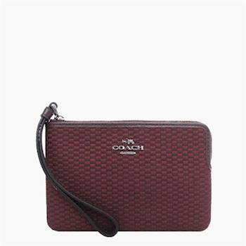 COACH 攜帶便利 織布 / 手腕包 / 手拿包(小款) 紫紅
