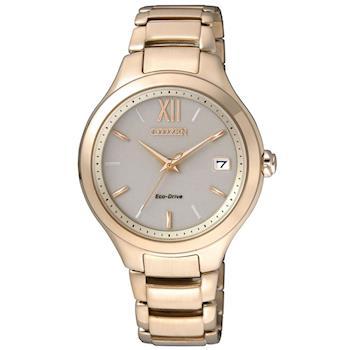 CITIZEN 星辰 L系列 光動能氣質時尚女錶-淡灰x香檳金/35mm(EO1163-57P)