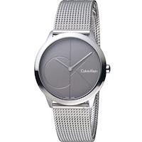 Calvin Klein minimal 大 ck 簡約時尚米蘭錶帶腕錶 K3M22123  35mm深灰