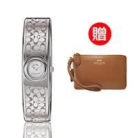 【COACH】經典logo晚宴腕錶 銀 贈COACH時尚經典手拿包