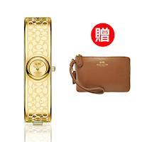 【COACH】 經典logo晚宴腕錶 金 贈COACH時尚經典手拿包