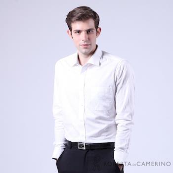 ROBERTA諾貝達 進口素材 台灣製 合身版 純棉花紋緹花長袖襯衫RFE45-91白色