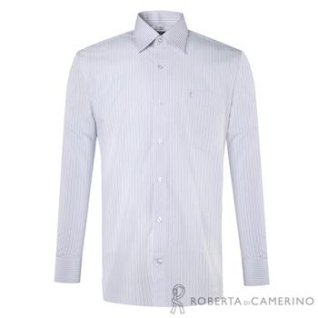 ROBERTA諾貝達 台灣製 獨特迷人 雙色條紋長袖襯衫RDD50-22白色