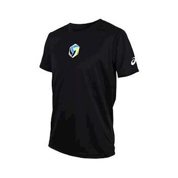 ASICS 男排球短袖印花T恤-短T  亞瑟士 黑藍綠