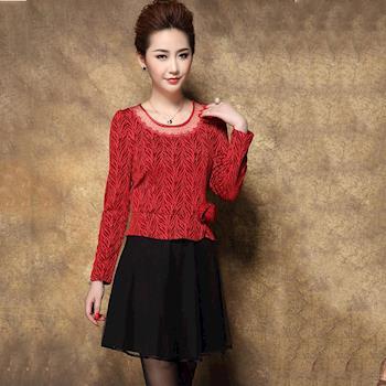 Jisen-秀麗花漾拼接洋裝