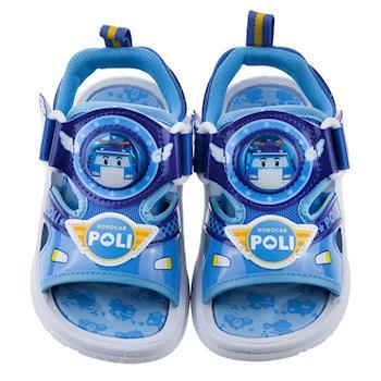 《布布童鞋》POLI救援小英雄波力藍色雙魔鬼氈電燈涼鞋(15~19公分) [ B7E106B ] 藍色款