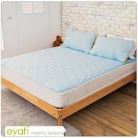 eyah宜雅 製純色加厚舖綿保潔墊平單式單人2入組 含枕墊~1 ~迷情藍
