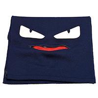 FENDI 經典BUGS系列小毛怪造型羊毛針織圍巾(海軍藍)