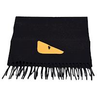 FENDI 經典BUGS系列小毛怪造型羊絨圍巾(黑)