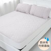 eyah宜雅  竹炭超防水舖綿QQ保潔墊~ 平單式 單人2件組 含枕墊~1 ~新