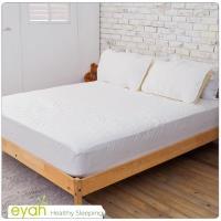 eyah宜雅 台灣製純色加厚舖綿保潔墊床包式雙人加大3入組(含枕墊*2)-純潔白-新