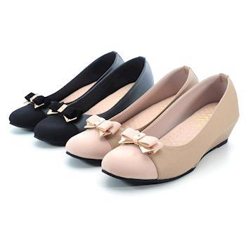 【 101大尺碼女鞋】│大尺碼系列│MIT優雅蝴蝶結雙色拼結坡跟美鞋 -黑色/芋色 0630922197-89