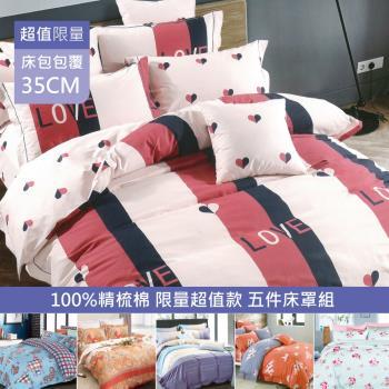 R.Q.POLO 限量100%純棉系列 兩用被五件式床罩組(雙人標準5尺-多款任選)