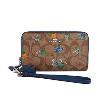 COACH PVC LOGO皮革/藍色小花雙拉鏈中夾/手拿包(駝色底) F57959 SVLMB