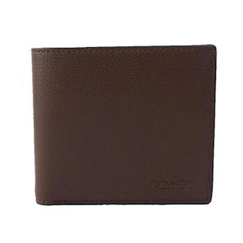 COACH 素面全皮8卡對開短夾(咖啡色) F75084 MAH